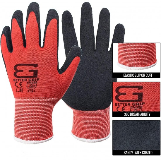 (Box Deal) BGS-RED-9L-CS, Better Grip Nylon Sandy Latex Coated Work Gloves, 144 Pairs/CS (Large, RED)