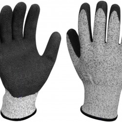 GROSSARTIG Work Gloves Textured Rubber Nitrile Palm Dipped Coated for Construction Men's X-Large Home Gardening Gloves (Color : 5 Pairs, Size : XL-10(10.24 in))