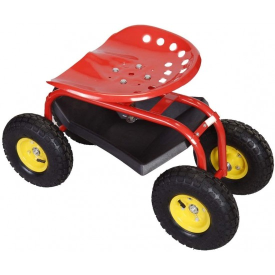 ZHIPENG Garden Cart with Multi-Purpose Rolling Seat Ergonomically Designed for Outdoor Gardening - Gardening Tools (Red)
