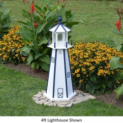Backyard Crafts Amish-Made Lighthouse in White with Navy Trim, 60