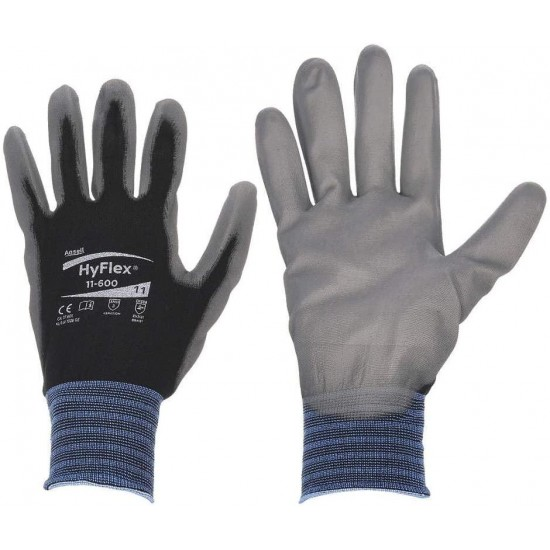 8 Gray/ Black HyFlex Lite Dipped Gloves With Knit Lining And Color-Coded Cuff (144 Pair Per Case)