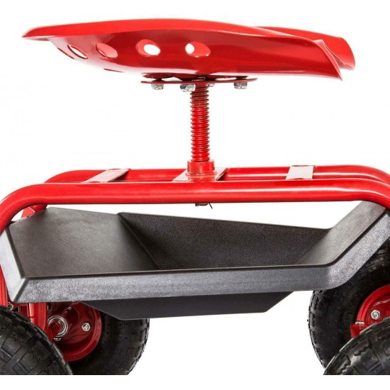 Moon_Daughter Red Color Rolling Seat Swivel Garden Cart Tool Tray Planting Work Basket Outdoor Garden Yard Lawn