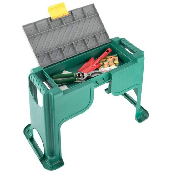 Premium Plastic Garden Stool, with Storage Space Under The Bench, Multifunction, Durable, with Kneeling Cushion Pad, Used for Gardening, Fishing
