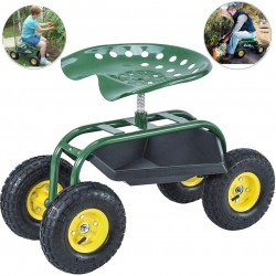 OTO Garden Rolling Seat Scooter with Wheels and Tool Tray- 360 Swivel Seat for Gardening, Weeding and Lawn Care
