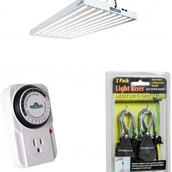 Agrobrite T5 4' 8-Tube Fixture with Lamps, Timer, and Light Risers
