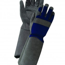 Magid Glove & Safety Professional Rose Pruning Thornproof Gardening Gloves with Extra Long Forearm Protection for Men - Puncture Resistant, 9/Large (24 Pair), Grey & Blue