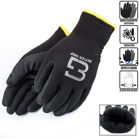 (Box Deal) BGWANS-BK-10L-CS, Better Grip Safety Winter Insulated Double Lining Rubber Coated Work Gloves, 72 Pairs/CS (Large, Black)